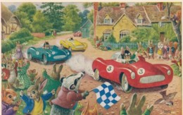 Racey Helps Artist Image Rabbits Dressed As People Auto Race C1960s Vintage Medici Society Postcard - Illustrators & Photographers