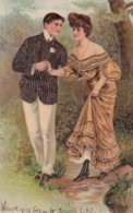 PFB #5707, Couple Walks Across Stream, Romance Theme C1900s Vintage Embossed Postcard - Couples