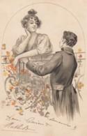 Unsigned Artist Image Man Courts Beautiful Woman, Romance Theme C1900s Vintage Postcard - Couples