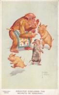 Lawson Wood Artist Image, 'Gran Pop Discloses Secrests Of Masonry' Chimpanzee Pig Theme C1940s Vintage Postcard - Wood, Lawson