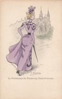 F. Chamouil (?) Artist Image Beautiful Woman Fashion 'Paririenne Of Faubourg Saint-Germain C1900s Vintage Postcard - Illustrators & Photographers