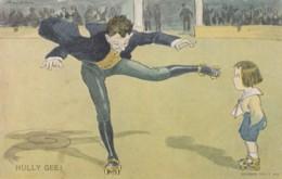 Roller Skating Theme 'Hully Gee' Artist Image Man Skates Child Watches C1900s Vintage Postcard - Postcards