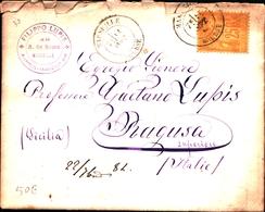 92729) FRANCIA LETTERA CON 25C. SAGE N. 92 DA MARSIGLIA A RAGUSA IL 11-9-1884 - 1876-1898 Sage (Tipo II)