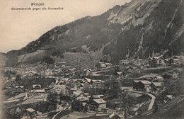 Wengen Gesamtansicht Gegen Die Hunnenfluh Swiss Old Postcard - Switzerland