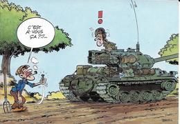 Cpsm Illustrateur Jean Pol, Militaria, Soldats Sur Un Char Face à Un Paysan, C'est à Vous ça? - Other Illustrators