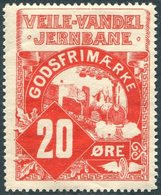 TRAIN Denmark 1913 VVJ Veile (Vejle)-Vandel Railway 20 ø. Parcel Steam Loco Zug Eisenbahn Paketmarke Chemin De Fer Colis - Trains