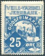 TRAIN Denmark 1913 VVJ Veile (Vejle)-Vandel Railway 25 ø. Parcel Steam Loco Zug Eisenbahn Paketmarke Chemin De Fer Colis - Trains