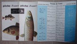 Carte PECHE En FRANCE, Cartes, Listes Sociétés, Règlement, Poissons Et Tailles, Article De Genevoix - 1959 - Cartes Géographiques