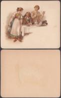 Chromo Images: â Table Autour Du Vin - Bar /Serveuse...........(VG) DC6777 - Kaufmanns- Und Zigarettenbilder