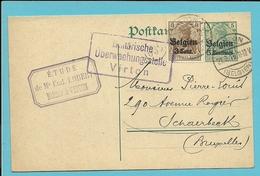 Entier Met Duitse Brugstempel VIRTON + Censuur VIRTON - WW I