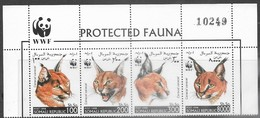 Somalia  1998  WWF Caracal Cats Strip Of 4 With Header  MNH - Unused Stamps