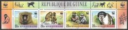 Guinea  2000   WWF  Primates Set With Header  MNH - Unused Stamps