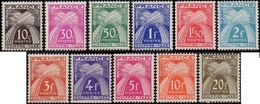 France N° Taxe  67 à 77 ** Gerbes, Série Chiffre - 1859-1955 Mint/hinged