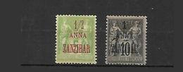 Zanzibar    1894 Cat Yt N° 1 Et 2 N* MLH - Zanzibar (1894-1904)