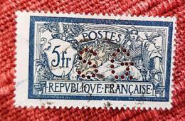 FRANCE Perforé Perforés Perfins Perfin. Yvert N° 123 Merson - 5 F. Bleu Et Chamois. Oblitéré Et Perforé  SG - Perforés