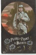 Thème, MILITARIA, Patriotique, Fleurs De France, Les Bleuets, Couleurs, Scan Recto-Verso - Patriotiques
