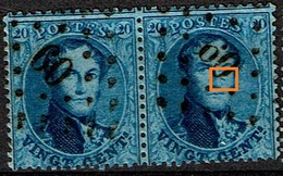 15B Paire   Obl  LP  60  T 2 Griffe à Droite Du Nez  (202) - 1863-1864 Medallions (13/16)