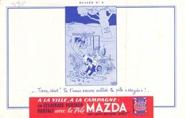 Ancien Buvard Collection PILES MAZDA SUPERCONTRO ILLUSTRE PAR DUBOUT - Accumulators