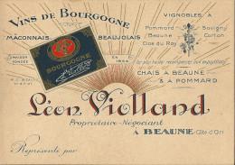 CARTE DE VISITE 21 BEAUNE PUB VINS BOURGOGNE LENO VIOLLAND 12,5x9cm - Cartes De Visite