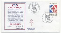 """FRANCE - Enveloppe - Cachet Premier Jour """"Appel à La Résistance"""" - PARIS - 17/18.6.1990 - De Gaulle (General)"""