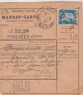 RARE Yvert 222 Pasteur Sur Mandat Carte LE SOLER Pyrénées Orientales 1927 Pour Cuirassé JEAN BART Passe Paris Caisse - Covers & Documents