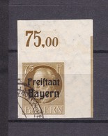 Bayern - 1920 - Michel Nr. 163 B - Eckrand - Gest. - 90 Euro - Bavaria