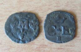 France - 2 Monnaies Féodales : Quart De Sol Charles-Emmanuel De Savoie Et Liard Des Dombes Montpensier - 476-1789 Monnaies Seigneuriales