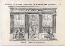 """BRUXELLES-BRUSSEL """" R.VAN DE PUTTE PIETTE-MAGASIN DE RUBANS,MERCERIES ET FOURNITURES""""127/93MM - Cartes Porcelaine"""