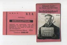 ANTWERPEN : Dokwerker Dockchaffeurs :  Bernard Balemans Merksem :  2 Items - 2 Scans  Zie Detail - Titres De Transport
