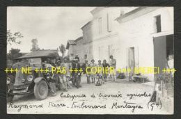 33 - MONTAGNE - ENTREPRISE DE TRAVAUX AGRICOLES RAYMOND-PIERRE FONBERNARD, AUTO RENAULT 7386-GAI - CARTE PHOTO (GG0026)G - France