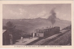 CHEMIN DE FER DU MONT BLANC - TRAIN EN GARE DE MOTIVON - LA CHAINE DES ARAVIS - Stations With Trains