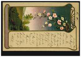 Künstler-AK Jugendstil Blumengirlande, Landschaft Ortspostkarte ZWICKAU 13.2.02 - Illustrateurs & Photographes