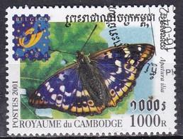 Cambogia, 2001 - 1000r Apatura Ilia - Nr.2076 Usato° - Cambogia
