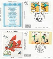 France FDC 2000 2003 - Fête Du Timbre Paire Carnet  Tintin Lagaffe Boule & Bill Lucky Luke - FDC