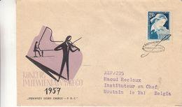 Pologne - Lettre De 1957 - Oblit Warsawa - Exp Vers Houtain Le Val - Violons - Briefe U. Dokumente