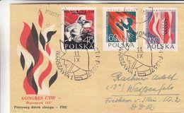 Pologne - Lettre De 1957 - Oblit Warsawa - Exp Vers Weisenfels - Pompiers - Briefe U. Dokumente