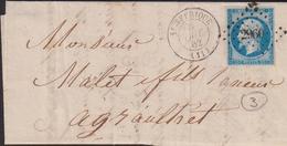 LETTRE DE L 'AVEYRON AVEC PC DE SAINTE AFFRIQUE LAC 1862 SUP - Storia Postale