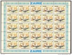 Zaire 0941** 30s Feuille / Bogen / Sheet De 25 MNH - Aviation Léonard De Vinci - 1971-79: Neufs