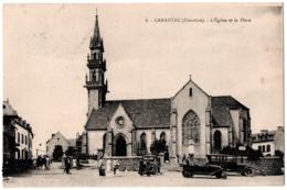 CPA 29 - CARANTEC (Finistère) - 8. L'Eglise Et La Place (animée, Automobiles) - Carantec