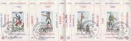 CARNET De 4 PORTE-TIMBRES RÉVOLUTION - Oblit. STRASBOURG / GUISE / PARIS / RIBEMONT - 24 JUIN 1989 - Abarten Und Kuriositäten