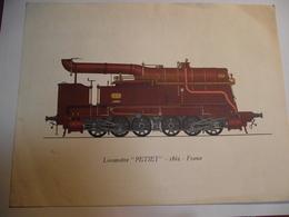 Poster, Locomotive Petiet , 1862,  Format 18X24, Publicité - Chemin De Fer