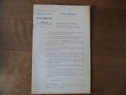 ETAT FRANCAIS 30 MAI 1942  REGION DE LILLE SERVICE DES PRIX PRIX  DES LEGUMES FRAIS PERIODE 1er AU 15 JUIN 1942 LE PREFE - Historische Dokumente