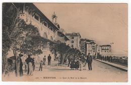 CPA 06 : 440 - MENTON - Le Quai Du Midi Et Le Marché - 1915 - Menton
