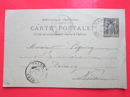 Cp écrite Léon GUILBERT à CHAMPLEMY (58) Le 27/11/1899 Oblitérée à CHAMPLEMY & PREMERY (58) Timbre Entier Type SAGE - Ganzsachen
