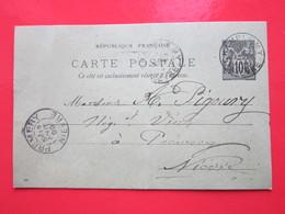 Cp écrite Léon GUIBERT à CHAMPLEMY (58) Le 12/08/1899 Oblitérée à CHAMPLEMY & PREMERY (58) Timbre Entier Type SAGE - Ganzsachen