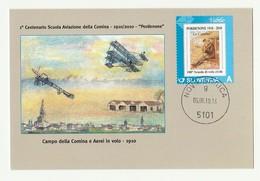 Cartolina STORIA AVIAZIONE COMINA 1910/1917 PORDENONE Centenario Scuola AEREI IN VOLO - Manifestazioni