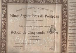 MINES  ARGENTIFERES   DE PONTPEAN De 1903 - Mines