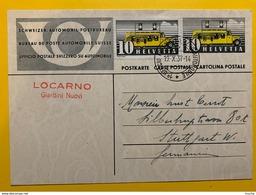 9711 - Entier Postal  1e Ufficio Postale Automobile 19.10.1937 Locarno Giardini Nuovi + Supplément Timbre Pour Stuttgart - Interi Postali
