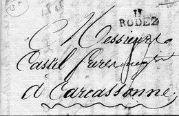 """11 RODEZ"",18/8/1806,taxe 16 Pour Carcassonne - Storia Postale"