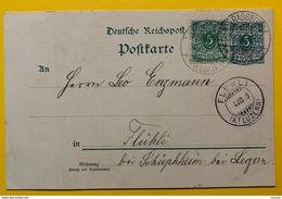 9734 - Ganzache  5 Pf + Timbre 5 Pf Strassburg 03.08.1898 Pour Fluhli Suisse - Deutschland